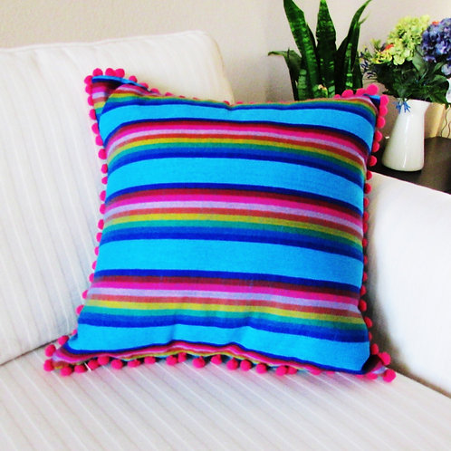 "Pillow cover 18""x18"" Mexican fabric blue with multicolor lines and pink"