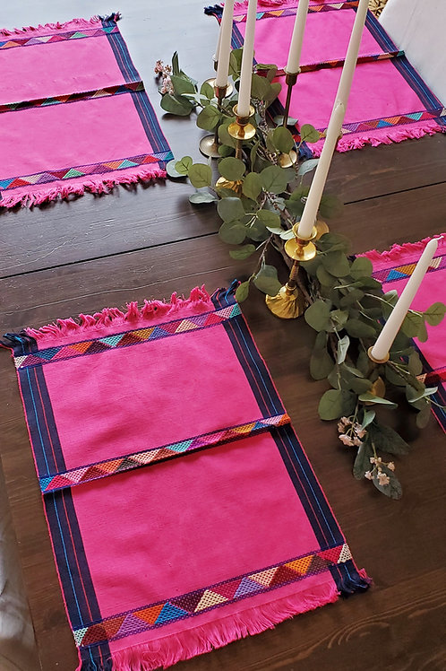 Placemats Pink  color, 4 pieces by set, weave in backstrap