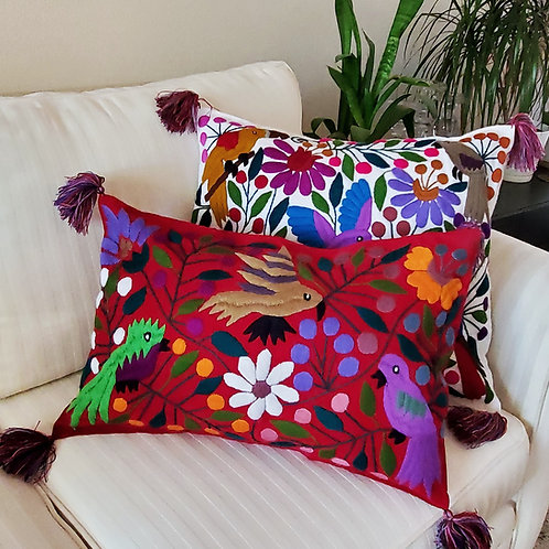 Chiapas Pillow Lumbar Cover Red fabric with colorful birds,