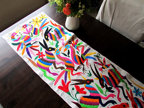 table runner multicolor, mexican fabric, otomi fabric, otomi table runner, mexican table runner, multicolors, mexican crewel.