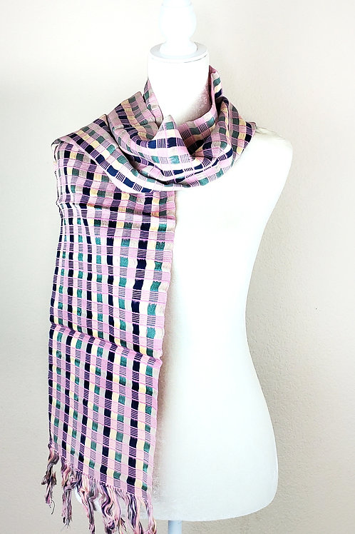 Scarf woven in back strap loom, multicolor stripes combination