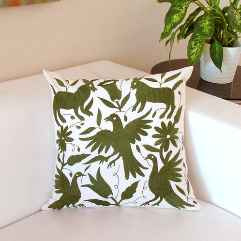 pillow hand made, pillow, pillow green, otomi pillow cover,  otomi fabric, pillow cover, mexican embroidery, mexican textile,