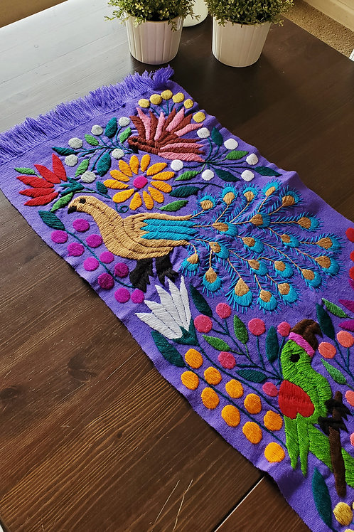 Table Runner woven in backstrap loom, fabric color Violet with Peacocks hand em