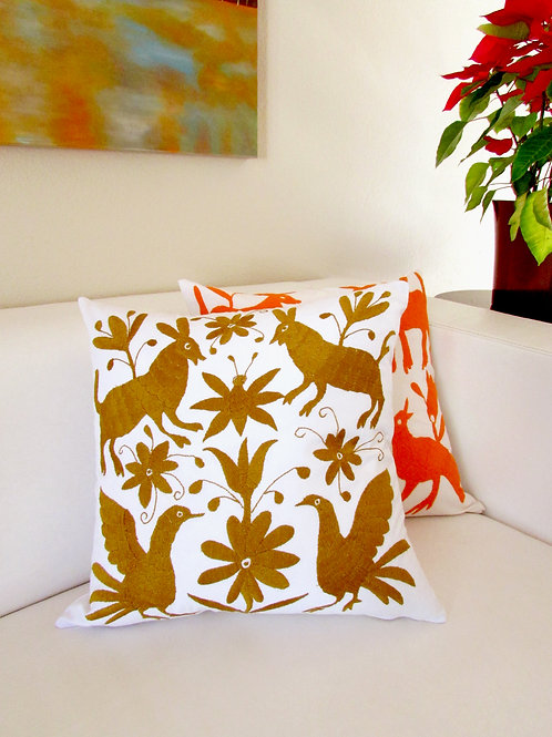 "Otomi pillow cover, ocher (gold) 18""x18"" hand embroidered on white cotton fabric"