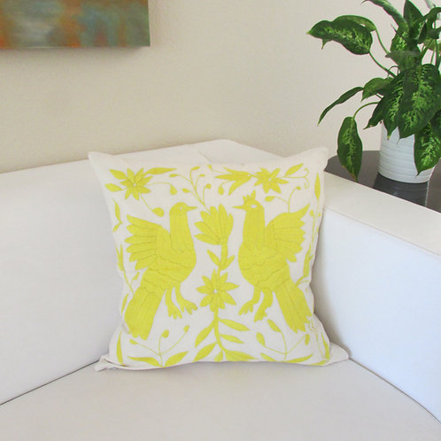 "Otomi square pillow cover  20""x20"" yellow on natural color cotton fabric."