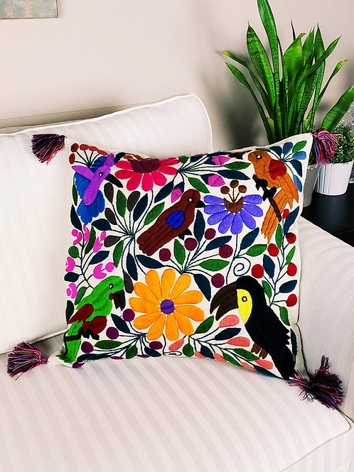 Chiapas Pillow Ivory tone animal floral pattern hand embroidered