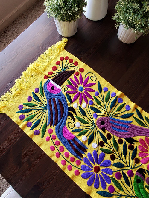 maya textile, toucans and flowers, mexican table runner, table runner, yellow, mexican hand made, mexican embroidery, mexican