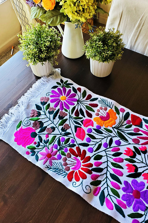 Table Runner White; multicolor floral embroidered.