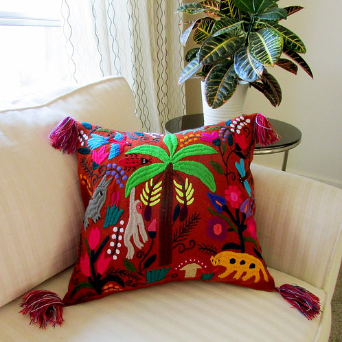 chiapas cover, pillow terracota, pillow cover, colorful birds, animals and flowers, mexican embroidered, mexican fabric.