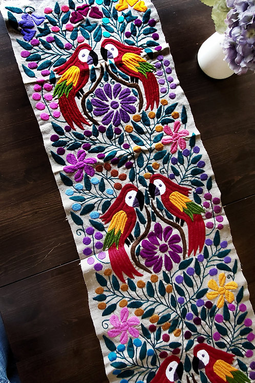 Table Runner, beige-gray hand embroidered with animals, birds and f