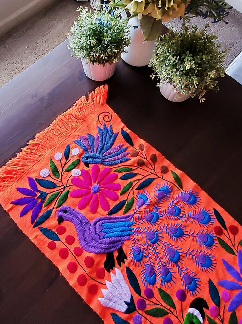mexican textile, mayan textile, mexican fabric, table runner orange, hand embroidery, mexican crewel embroidered, mexican han