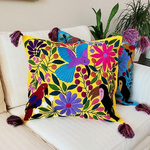 Mexican Pillow, Pillow cover, Mexican textile, maya textile, Yellow pillow cover, Mexican embroidered, mexican decor,