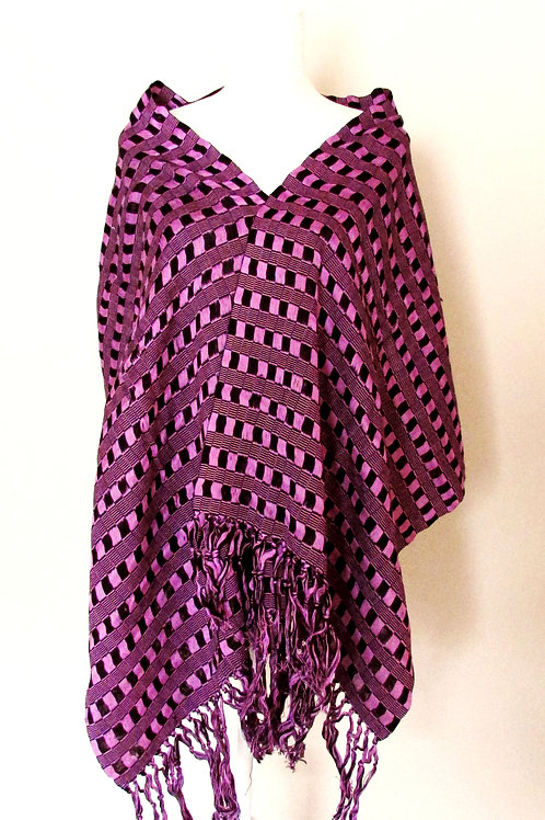 Rebozo or Shawl Black and Purple tone hand-woven in cotton yarn. Chiapas