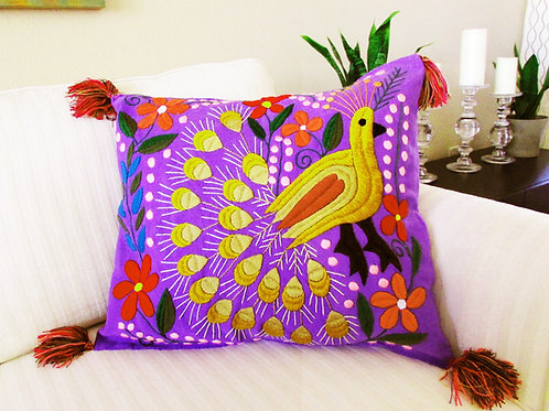 Mexican Pillow, mexican embroidered, mayan textile, pillow violet, peacook colorful, mexican fabric, mexican hand made, chiap