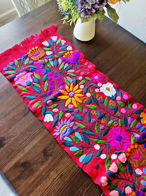 mexican crewel embroidery, mexican hand made, table runner red, mexican tapestry, flowers, tapestry, mexican textile, maya