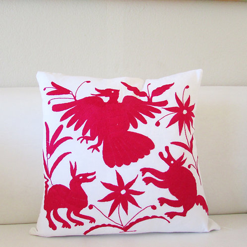 """Otomi Pillow Cover 18""""x18"""" fuchsia color hand embroidered"""