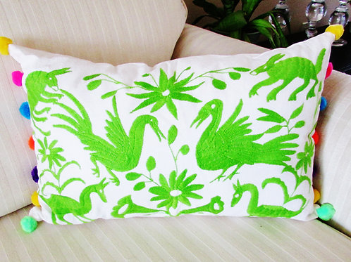 "Otomi Lumbar Pillow Cover 20""x13"" green embroidered and colorful pompoms."