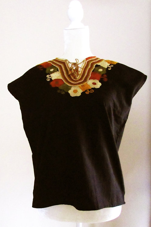 blouse black, mexican fabric, mexican textile, blouse hand embroidery, mexican blouse, mexican crewel embroidered