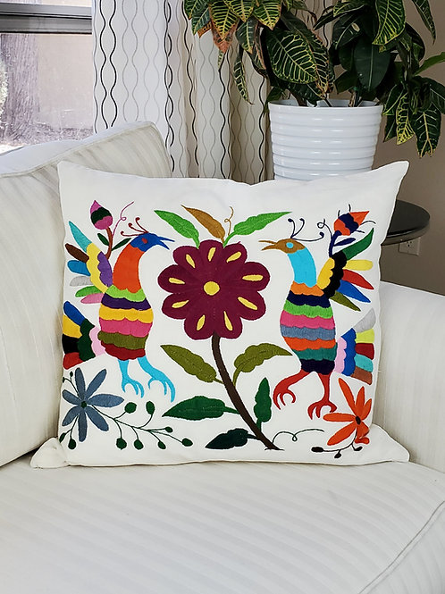 """Otomi  Square Pillow Cover 20""""×20""""multicolor embroidered on manta f"""