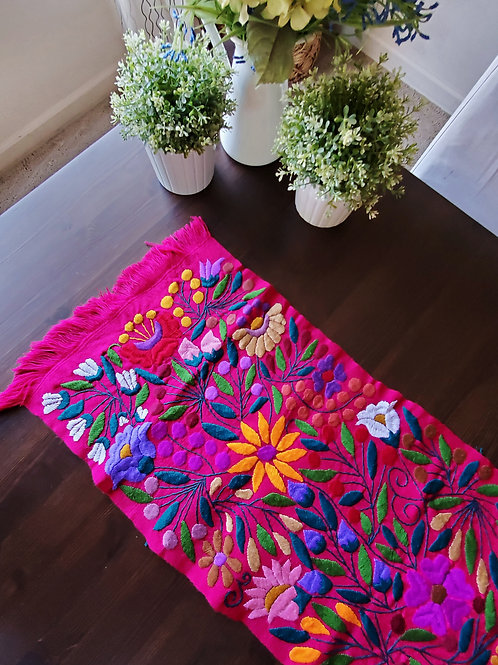tapestry, fucsia table runner, mexican hand made, mexican fabric, mexican tapestry, fucsia, maya textile, mexican embroidery,
