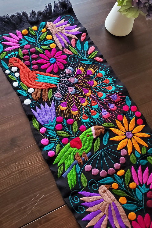 Peacock tapestry, Mexican linen, Mexican table runner, mexican embroidered, mexican upholtery fabric, mexican textile,