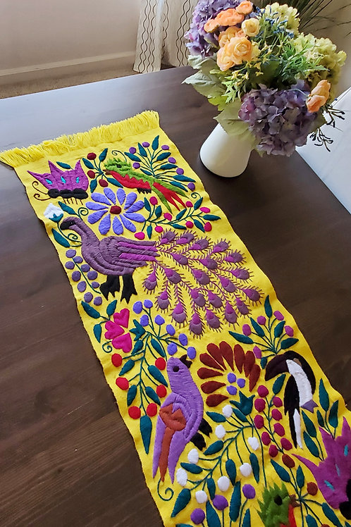 Table Runner Yellow color Hand-woven and embroaidered, with Peacocks
