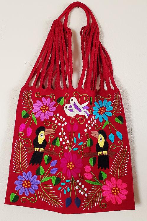 Chiapas tote color red  handmade wove in backstrap loom bag hand embori