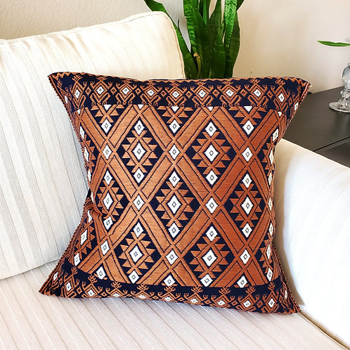 """Pillow cover brocade San Andres  Larrainzar, 16""""x16"""" brown and blue hand woven,"""