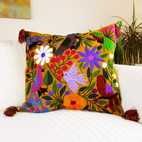 Mexican Embroidery, Mexican textile, Maya fabric, Mexican decor, Chiapas Textile, Mexican pillow, Ocher pillow
