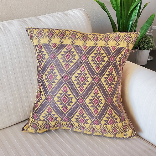 yellow, animals, brocade, pillow case, pillow cover, embroidery, hand made, hand woven, backstrap loom, textil, hand embroide