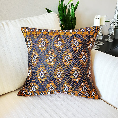 pillow cover, embroidered, brocade, vintage, pillow case, hand woven, hand made, hand embroidery, backstrap loom, textil