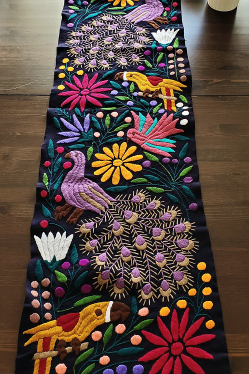 Table Runner, Black hand-embroidered, with Peacocks, flowers and