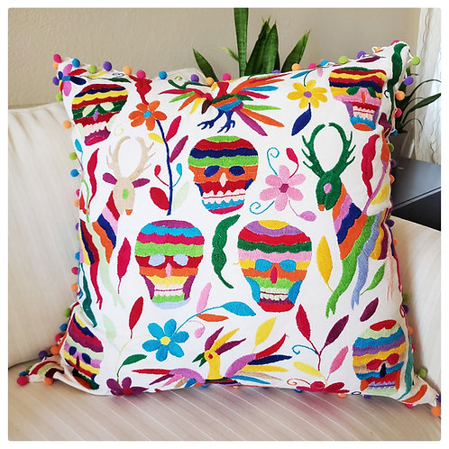 """Otomi Pillow cover 23""""x23"""" sugar skulls multicolor hand embroidered on m"""