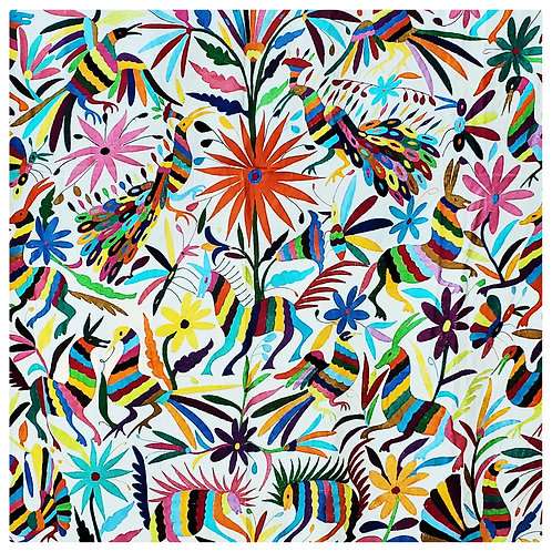 Otomi square Tablecloth Multicolor embroidered