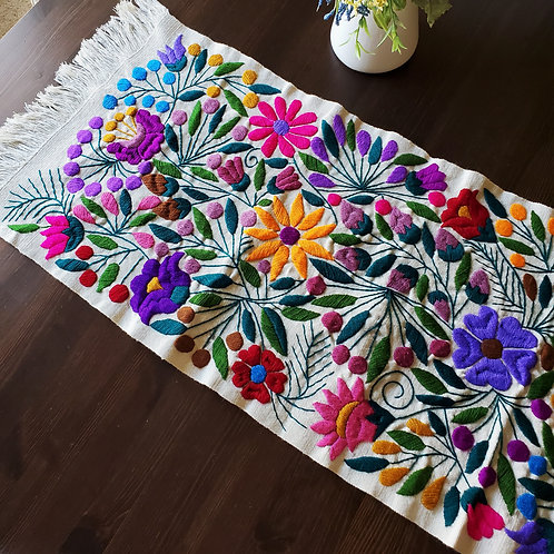 mexican crewel embroidery, mexican embroidery, flowers tapestry, mexican table runner, mexican hand-embroidery, mayan textile