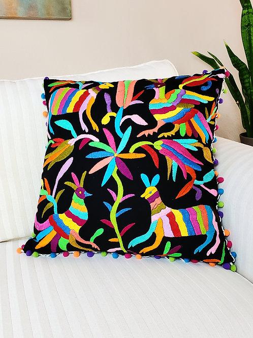 square, pillow cover, pillow case, black, birds, flowers, animals
