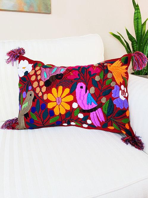 chiapas,birds, flowers, pillows cover, pillow case, hand made, hand woven, chiapas, mexico textile,textil, embroidery
