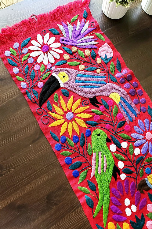 Table Runner Red tone, Hand-woven and embroidered, with Toucans and flowers