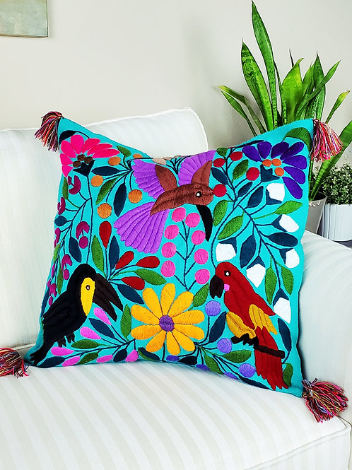backastrap loom,birds, flowers, pillows cover, pillow case, hand made, hand woven, chiapas, mexico textile,textil, embroidery