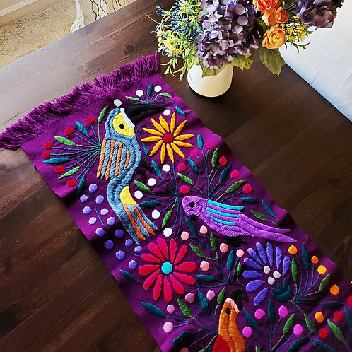 Table Runner purple-redwine Hand-woven embroidered, with Toucans and flowers.