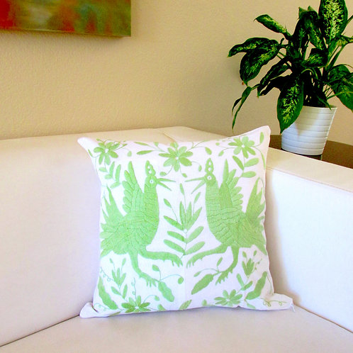 """Pillow Cover 18""""x18"""" green apple on white fabric."""