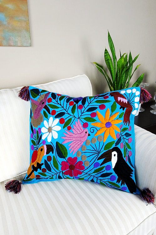 Chiapas Pillow Blue  tone animal floral pattern hand embroidered