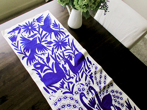 Otomi fabric, Otomi table runner, Mexican embroider, Blue otomi runner, Mexican Textile, blue otomi embroidery, tenango