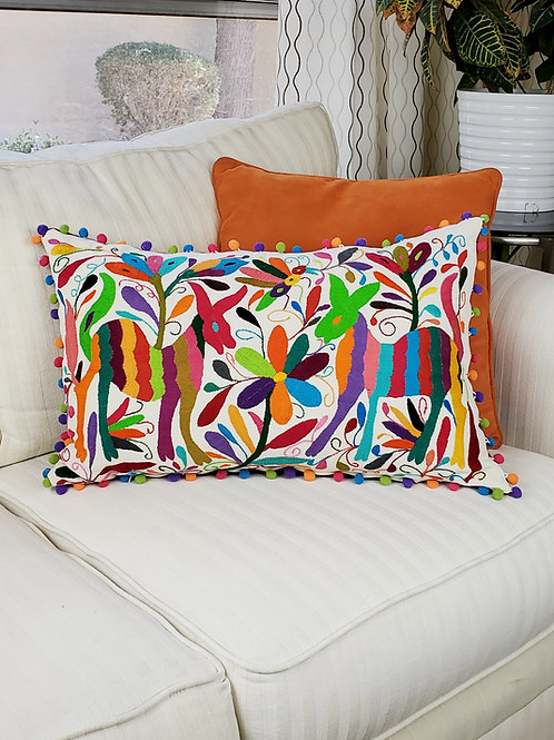"""Otomi Lumbar Pillow Cover 20""""x14""""multicolor embroidered on natural cotton fabric"""