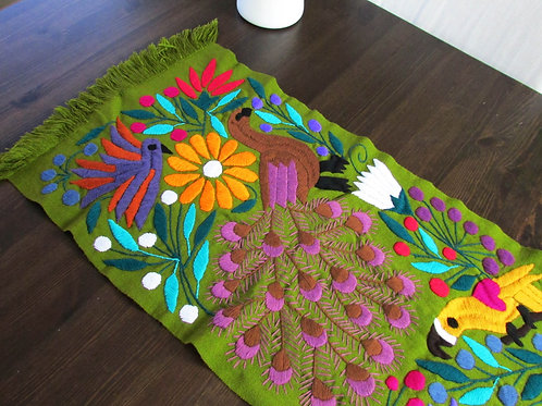 mexican tapestry, mayan textile, Mexican textile, mexican table runner, mexican hand embroiderery, mexican crewel work,
