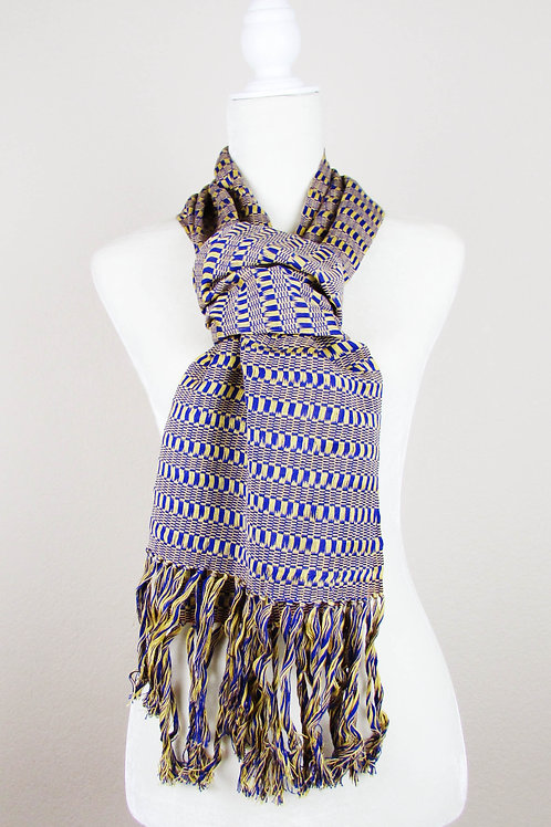 Scarf, blue tone scarf, handwoven scarf, mexican textile, maya textile, mexican embroidered, mexican apparel, mexican garment