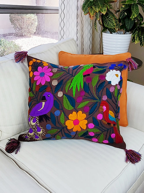 Chiapas Pillow dark brown tone animal floral pattern hand embroidered