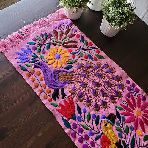 mexican textile, backstrap loom, hand made, hand woven, hand embroidery, peacock, animals, birds, flowers, table runners
