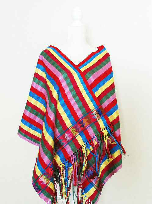 Rebozo or Shawl stripes on vibrant color, blue, yellow, red, green pink redwine.