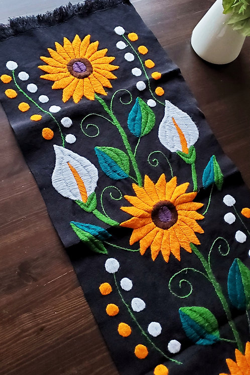 Mexican Linen, Mexican sunflower, maya embroidered, mexican decor, maya textile, mexican tapestry, mexican table runner,